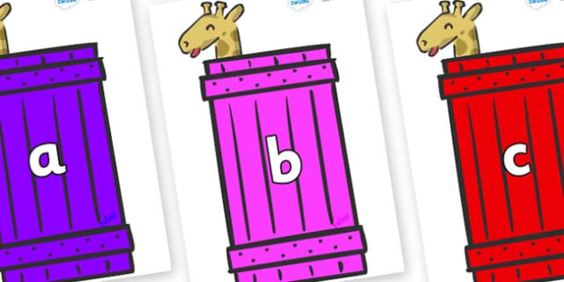 Phase 2 Phonemes on Giraffes (Crate) to Support Teaching on Dear Zoo - Phonemes, phoneme, Phase 2, Phase two, Foundation, Literacy, Letters and Sounds, DfES, display