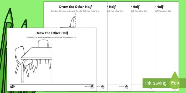 Back to School Draw the Other Half Activity Sheet - Back to School, school equipment, symmetry, worksheet, activity sheet, drawing, art, Australia
