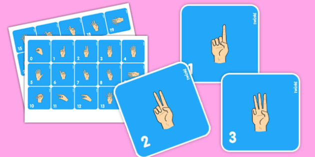 British Sign Language 0-20 Flash Cards (Signer's View) - flashcards, sign, number