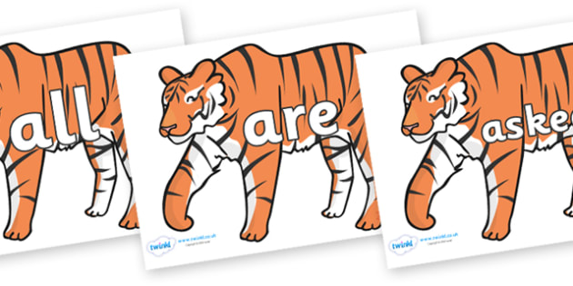Tricky Words on Tigers - Tricky words, DfES Letters and Sounds, Letters and sounds, display, words