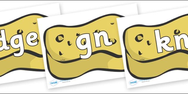 Silent Letters on Sponges - Silent Letters, silent letter, letter blend, consonant, consonants, digraph, trigraph, A-Z letters, literacy, alphabet, letters, alternative sounds