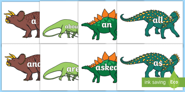 100 High Frequency Words on Dinosaur Skeletons - High frequency words, hfw, DfES Letters and Sounds, Letters and Sounds, display words