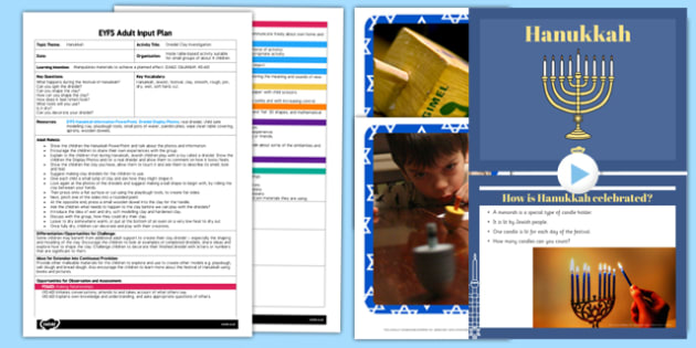 Dreidel Clay Investigation EYFS Adult Input Plan and Resource Pack - dreidel, clay, investigation