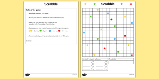Scrabble Spanish Board Game - spanish, board game, juego de mesa, template, vocabulary practice, scrabble
