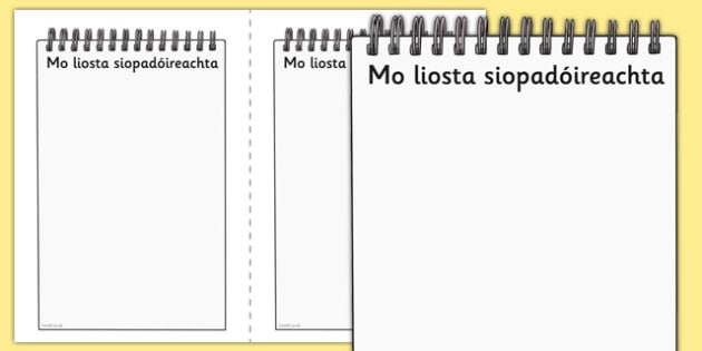 My Shopping List Writing Frames Gaeilge - irish , gaeilge , shopping , list , writing , template , role play , drama , aster , siopadóireacht