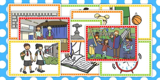 School Walk Picture Cards - school, walk, picture cards, cards