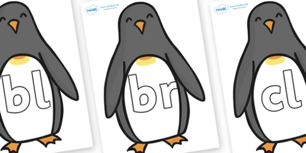 Initial Letter Blends on Penguins - Initial Letters, initial letter, letter blend, letter blends, consonant, consonants, digraph, trigraph, literacy, alphabet, letters, foundation stage literacy