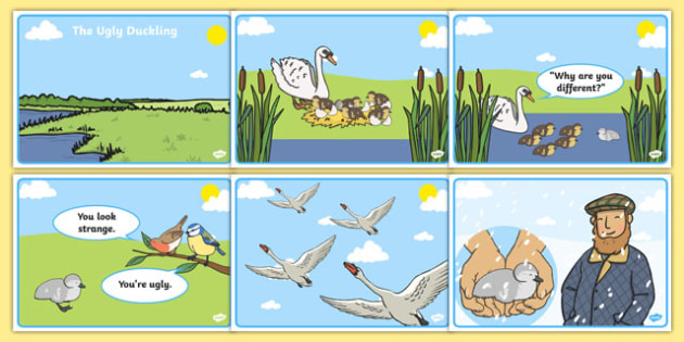 The Ugly Duckling Story Sequencing Colour (A4) - The Ugly Duckling, Hans Christian Andersen, Andersen, fairy tale, sequencing, story sequencing, story resources, A4, cards, Danish, bird, barnyard, swan, beautiful, ugly, transformation, tale, story, r