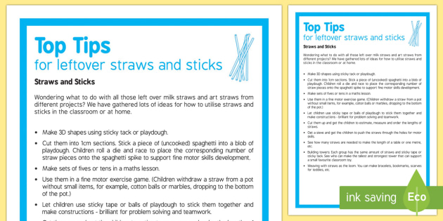 Straws and Sticks   Ideas and Top Tips