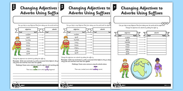 Changing Adjectives to Adverbs Using Suffixes Differentiated Activity Sheet Pack - GPS, spelling, punctuation, grammar, root, worksheet