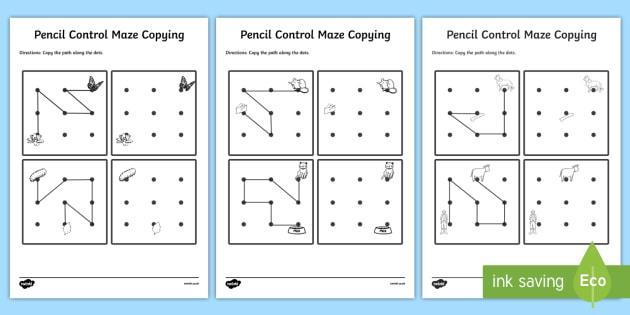 Pencil Control Maze Copying Activity Sheet Pack - pencil control, activity, worksheet