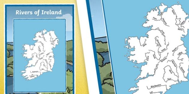Rivers of Ireland Large Display Poster-Irish