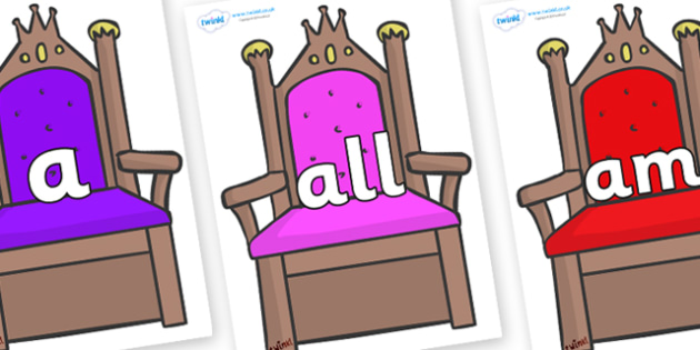 Foundation Stage 2 Keywords on Thrones - FS2, CLL, keywords, Communication language and literacy,  Display, Key words, high frequency words, foundation stage literacy, DfES Letters and Sounds, Letters and Sounds, spelling