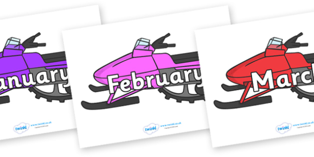 Months of the Year on Snowmobiles - Months of the Year, Months poster, Months display, display, poster, frieze, Months, month, January, February, March, April, May, June, July, August, September