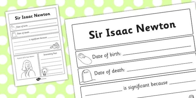 Sir Isaac Newton Significant Individual Writing Frame - writing