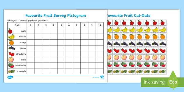 Favourite Fruit Pictogram - favourite fruit, pictogram, popular fruit, chart, banana, apple, orange, kiwi, grapes
