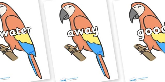 Next 200 Common Words on Parrots - Next 200 Common Words on  - DfES Letters and Sounds, Letters and Sounds, Letters and sounds words, Common words, 200 common words