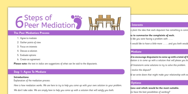 Peer Mediation Session Plan - peer mediation, session, plan, peer, mediation
