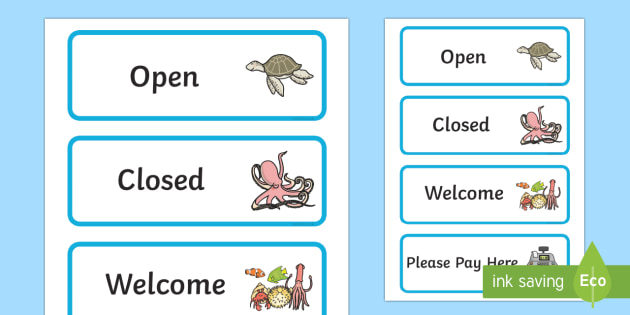 The Aquarium Role Play Signs - aquarium, role, play, role play, signs, aquarium signs, role play signs, aquarium role play, signs for aquarium