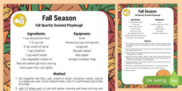 Fall Sparkly Scented Playdough Recipe