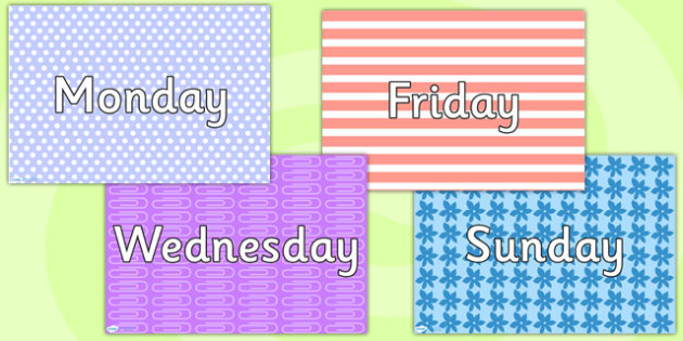 Patterned Days of the Week Posters - weeks, visual timetable