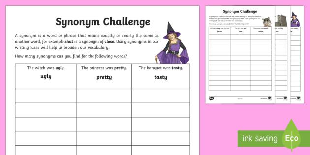 Synonyms Challenge Activity Sheets-Scottish - CfE Literacy, synonyms, vocabulary, challenge, homework, activity, worksheet, ,Scottish