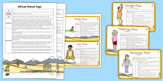 Animal Yoga Story - PE, physical education, animals, Africa, exercise
