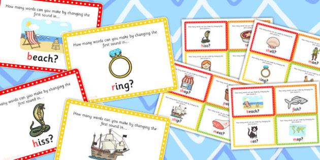 Initial Phoneme Manipulation Challenge Cards - activities, game