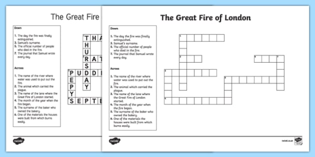 The Great Fire of London Crossword