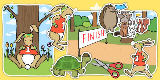 The Tortoise and The Hare Story Cut Outs - cutout, story books