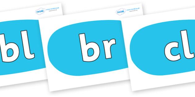 Initial Letter Blends on Speech Bubbles (Plain) - Initial Letters, initial letter, letter blend, letter blends, consonant, consonants, digraph, trigraph, literacy, alphabet, letters, foundation stage literacy