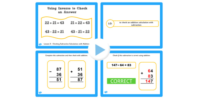 Y3 Inverse Lesson 3 Check Subtraction Calculations with Addition