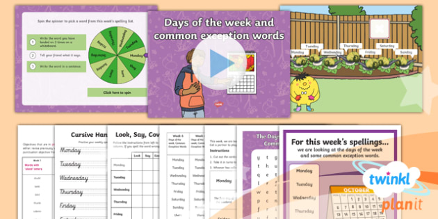 PlanIt Y1 Term 2A W6: Days of the Week Spelling Pack - Spellings Year 1, Term 2A, Week 6, days of the week, common exception words