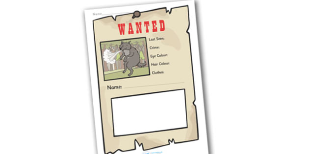 Wanted Poster Templates Primary Resources Page  Page