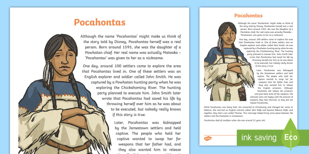 Native Americans Pocahontas Information Sheet - Native Americans, famous Native Americans, John Smith, John Rolfe,Scottish