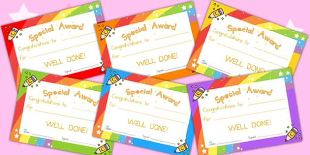 Special Award Certificates - award, reward, certificates, behave
