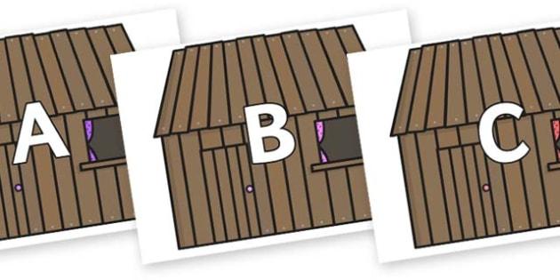 A-Z Alphabet on Wooden Houses - A-Z, A4, display, Alphabet frieze, Display letters, Letter posters, A-Z letters, Alphabet flashcards