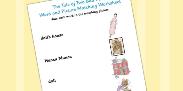 The Tale of Two Bad Mice Word and Picture Match - two bad mice