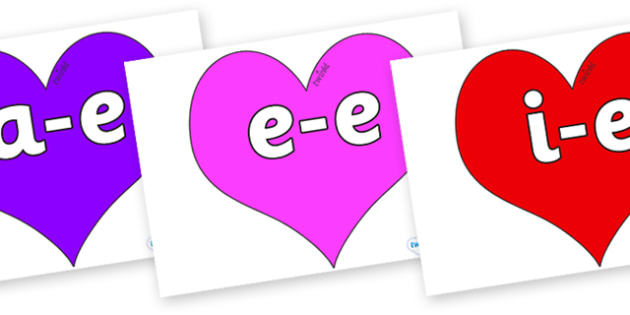 Split Digraphs on Hearts (Multicolour) - Modifying E, letters, modify, Phase 5, Phase five, alternative spellings for phonemes, DfES letters and Sounds
