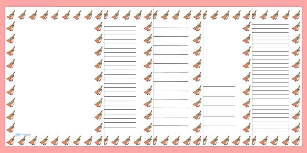 Robin Portrait Page Borders- Portrait Page Borders - Page border, border, writing template, writing aid, writing frame, a4 border, template, templates, landscape
