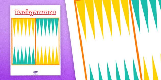 Printable Backgammon Board - printable, game, activity, class, backgammon board