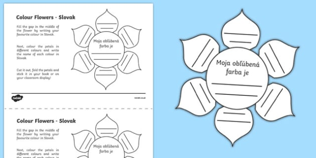 MFL Slovak Colour Flowers Activity Sheet, worksheet