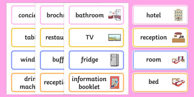 Hotel Role Play Word Cards - hotel, role play, word cards, vocabulary
