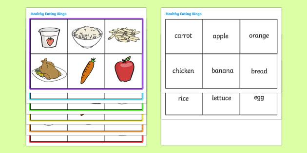 Healthy Eating Food Bingo - bingo, game, activity, eating healthy, healthy, food, food bingo, carrot, apple, fruit, vegetable