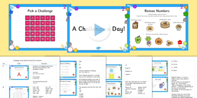 Challenge a Day Month PowerPoint Y3/4 Maths - challenge, day, month