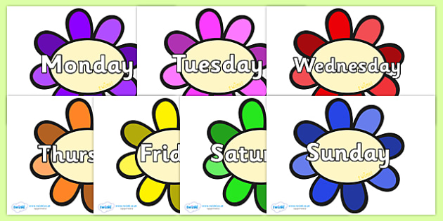Days of the Week on Flowers - Days of the Week, Weeks poster, week, display, poster, frieze, Days, Day, Monday, Tuesday, Wednesday, Thursday, Friday, Saturday, Sunday
