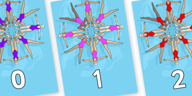 Numbers 0-31 on Synchronised Swimmers - 0-31, foundation stage numeracy, Number recognition, Number flashcards, counting, number frieze, Display numbers, number posters
