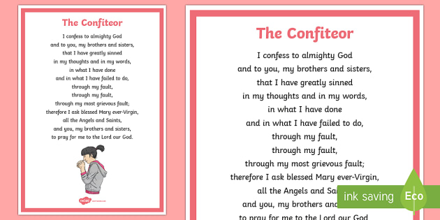 The Confiteor A4 Display Poster - CfE Catholic Christianity, prayers, mass responses, The Confiteor,Scottish