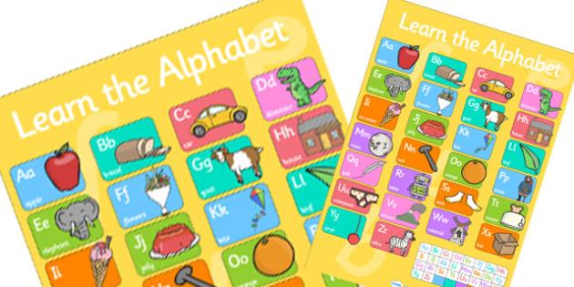 Large Alphabet Poster - alphabet poster, large alphabet, extra large alphabet poster, big alphabet poster, alphabet and images poster, alphabet display