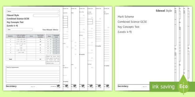Edexcel Style Combined Science Key Concepts in Chemistry Test - Atomic Structure, Periodic Table, Ionic BOnding, Covalent Bonding, TYpes of Substance, Calculations,
